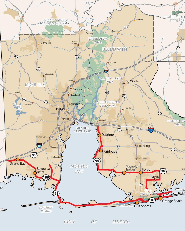 Map Of Alabama Coast Alabama's Coastal Connection | Alabama Byways